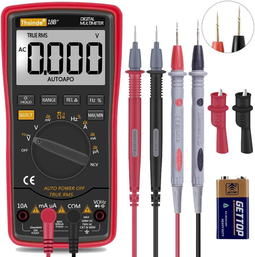 Digitales Multimeter Trms 6000 Mit Batterie Krokodilklemmen Messleitungen Ac Dc Spannung Konto Spannungsalarm Ampere Ohm Volt Multi Tester Diode Rot Baumarkt
