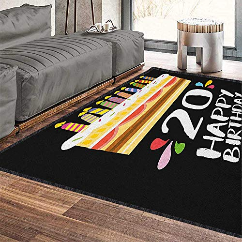 20th Birthday Super Soft & Cozy Rugs,Vintage Cartoon Style Delicious Looking Party Cake with Candles on Black Provides Protection and Cushion for Floors Multicolor 79