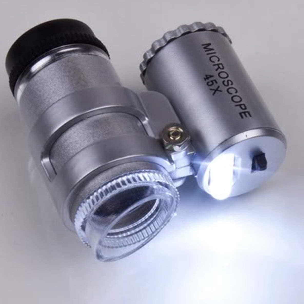 One Set 45X Mini ingranditore per microscopio tascabile Ingrandimento per gioielli Lente in vetro Loup Lente di ingrandimento 2 LED Ingrandimento