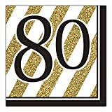 Black and Gold 80th Birthday Napkins (48 Count)