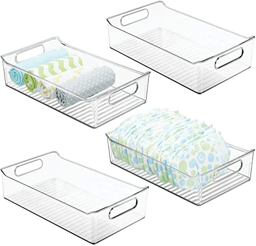 mDesign Juego de 4 cestas organizadoras para cuarto de bebé – Contenedor plástico grande con prácticas asas