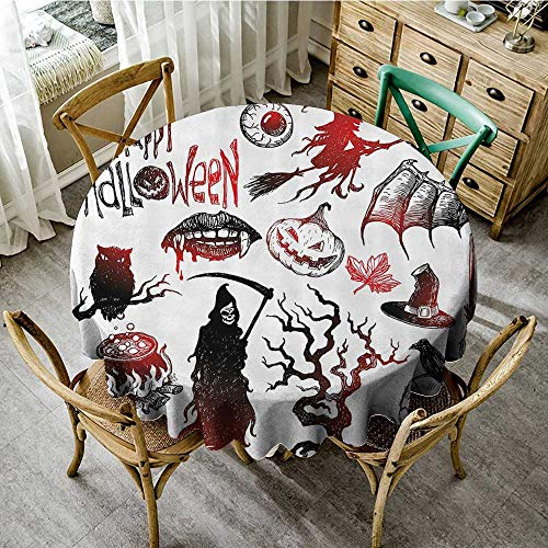 (familytaste Table Cover Easter Halloween Decorations Collection,Halloween Objects Scary Retro Evil Dead Skeleton Witch and Magic Book Picture,Black Red D 70