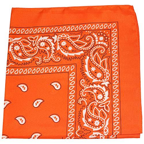 - Daily Basic 100% Cotton X Large Paisley Double Sided Printed Bandana (Orange)