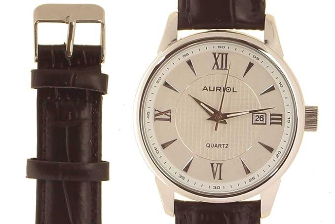 Reloj de hombre auriol - caja de acero inoxidable con correa de cuero de alta calidad: Amazon.es: Relojes