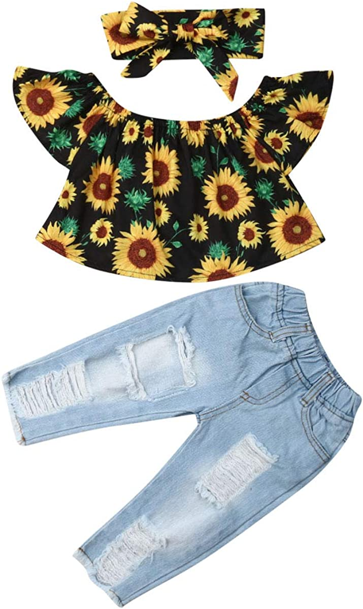 6M-4T Baby Girl Kid Off Shoulder Sunflowers Tops+Denim Pants Outfits Casual Set