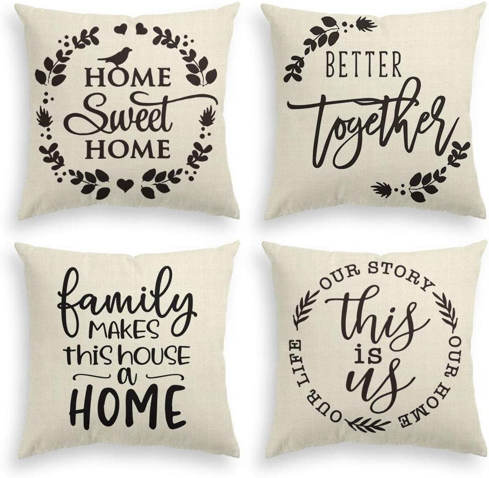 AVOIN Family Saying Throw Pillow Cover, 18 x 18 Inch Farmhouse Home Sweet Home Holiday Daily Life Cushion Case for Sofa Couch Set of 4