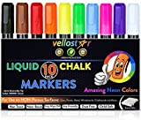 CHALK MARKERS 10 Pack with 5 Extra Tips CHILD SAFE Non-Toxic Neon Chalkboard Markers for Non-Porous Surfaces with Reversible Bullet-Chisel Fine Tip Set Your Creativity in Motion Now