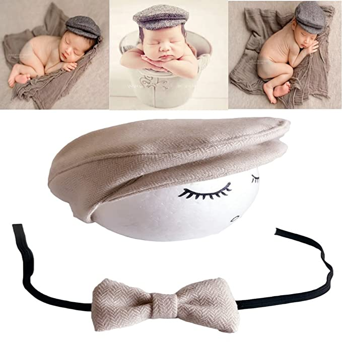 f30c58194 Newborn Baby Photography Photo Props Boy Girl Costume Photo Shoot Outfits  Cute Gentleman Hat Tie Set