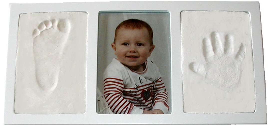 Proud Baby Clay Hand & Footprint Keepsake Photo Wall Mount Frame Kit - Black Casting Keepsakes