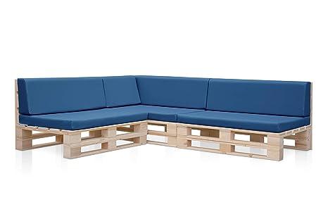 3 Sofas PALETS Madera para Jardin sin Barniz, Sillón Palet + colchonetas de Jardin, Cojines para pales en polipiel color Azul. Palets Europeos con ...