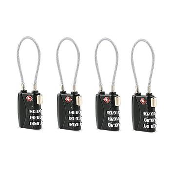 TSA - Candados de seguridad para maletas de viaje, combinación de 3 dígitos, con contraseña, 4 unidades, color negro: Amazon.es: Bricolaje y herramientas