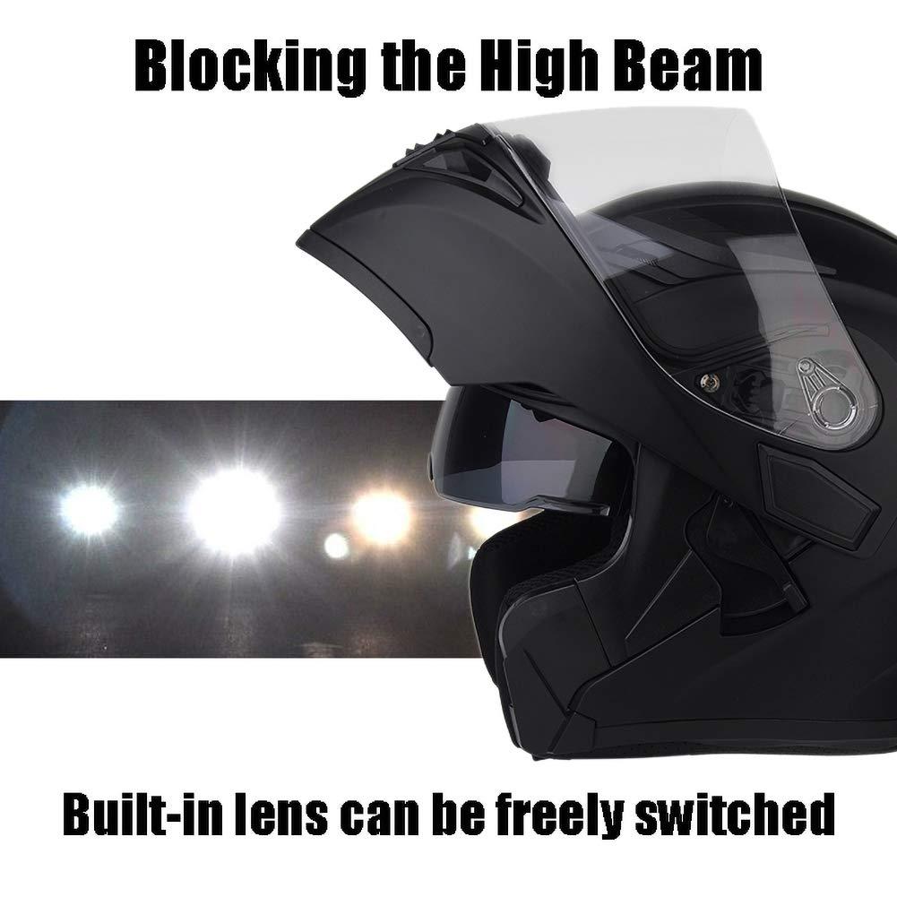 Mattschwarz 54-64CM Integralhelm DBY Boy Bluetooth Helm Motorrad Klapphelm Motorradhelm mit Doppellinse