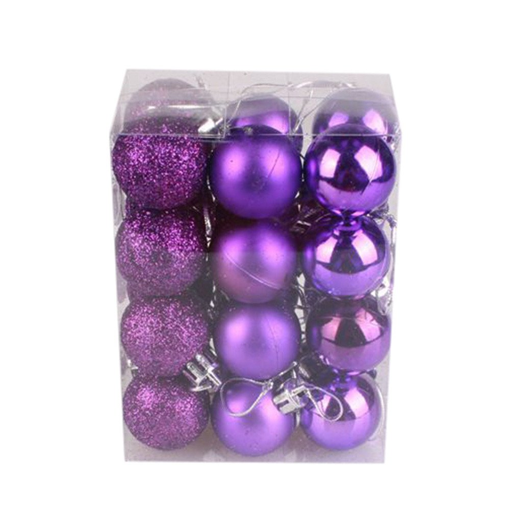 MomeChristmas Decoration Ball 2018 24Pcs 30mm Christmas Pendants Xmas Tree Ball Bauble Hanging Home Party Garden Ornament Decor-Gift for Baby Kids (Purple)