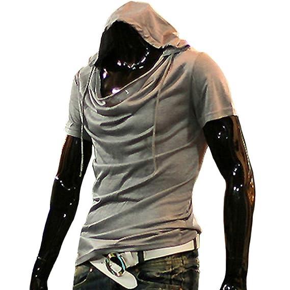 Buy Adityavat 2019 Summer Heap Collar T Shirt Men Fashion Hooded T Shirt Hip Hop Streetwear Men S Short Sleeve Solid Fitness Tshirt White At Amazon In