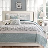 6 Piece Blue Paisley Stripes Pattern Coverlet King/ Cal King Set, For Luxury Master Bedrooms, Beautiful Quilted Textured Design, Bohemian Design Soft & Comfy Bedding, French Country Style, Cotton