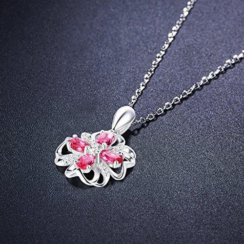 SWEETIEE - Collier en Argent 925 Sterling, Pendentif Fleur Tefle Porte-bonheur Pave Zircon Rose, Platine, 450mm