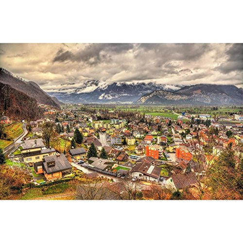 Pitaara Box Sargans Village View in Swiss Alps, Swiitzerland Peel & Stick Vinyl Wall Sticker 39.4 X 25.4Inch