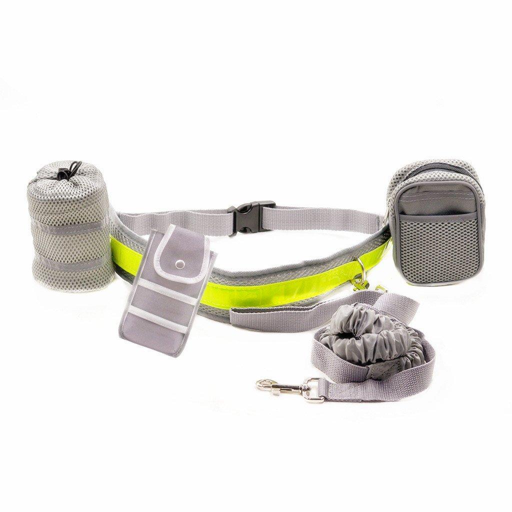 5 En 1 Chien Laisse Mains-libres Elastique avec Ceinture et Sac Poche de Taille pour Jogging Course - Noir Generic