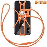 takyu スマートフォン ストラップ 携帯電話ストラップ シリコン製 滑り止めスマホケース リング スタンド機能 携帯の落下防止 4-6.5インチ 全機種対応 オレンジ