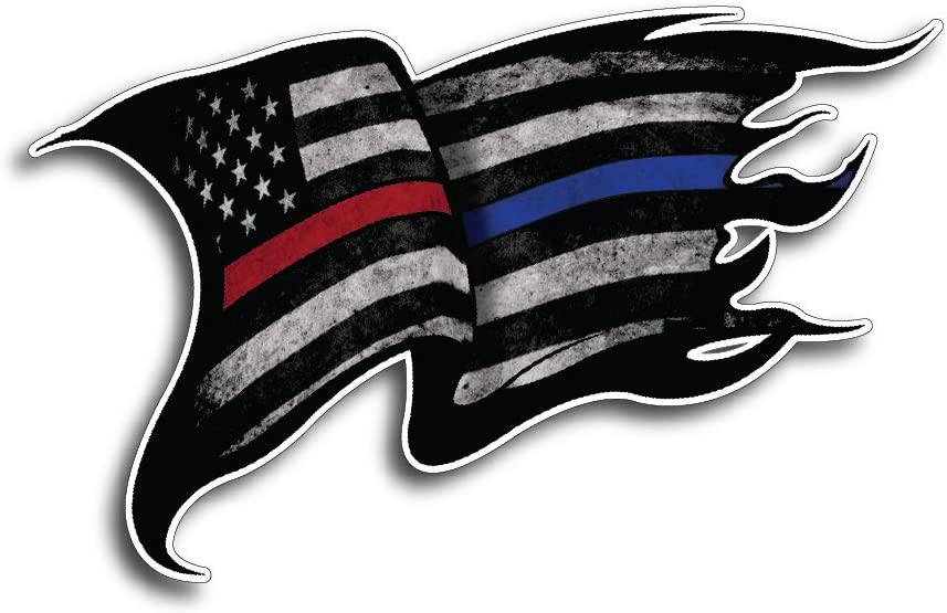 Red Line American Flag Distressed Police Fire Vinyl Sticker x 2 Thin Blue Line