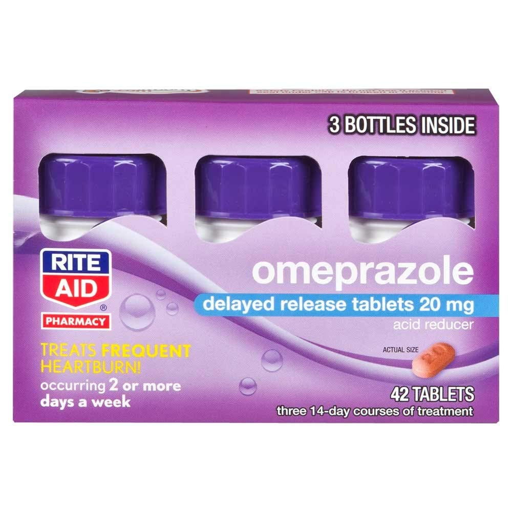 Rite Aid Acid Reducer Omeprazole Delayed Release Tablets 20mg, 3 Bottles, 14 ct Each (42 ct Total) by Rite Aid