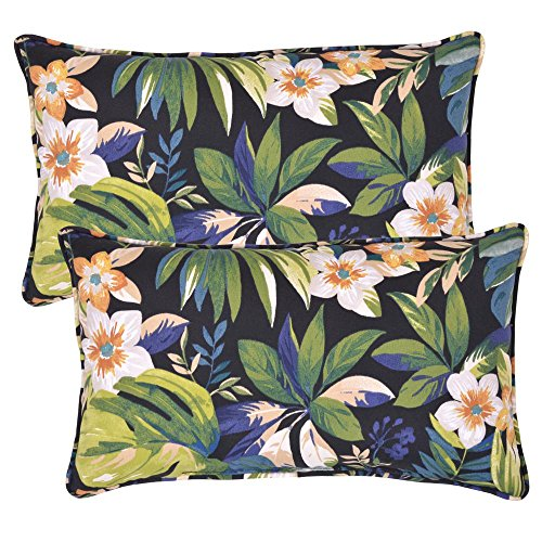 Plantation Patterns, LLC Caprice Elegant Stylish Tropical Lumbar Outdoor Throw Pillow (2-Pack), Dimensions: 20 in. x 12 in. x 6 in