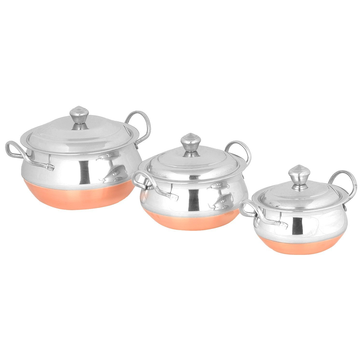 Indian Gifts Store PREMIUM Stainless Steel 3Pcs Handi Cookware Set - Copper Bottom