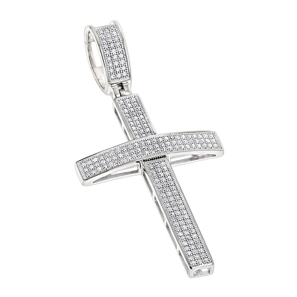 Luxurman 14K Round Pave Set Natural 0.5 Ctw Diamond Cross Pendant (White Gold)