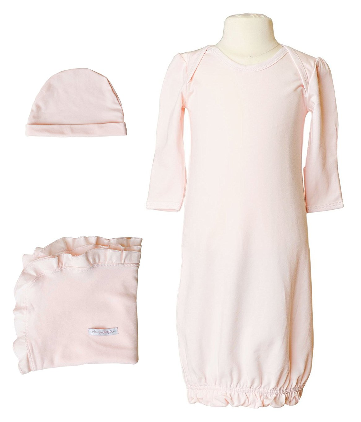 Girls Three-Piece Bamboo Layette Set (3-6 Months, Pink)