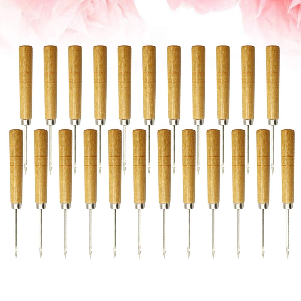 HEALLILY 50pcs Awl Tool Gourd Shape Wooden Handle Scratch Awl for Leather Hole Punch Awl Maker Tool Pin Punching with Hook Style 3