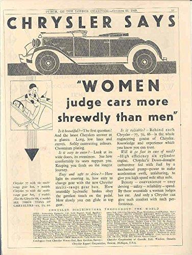 1930 Chrysler England Ad Riley Monaco II Eversharp Pen