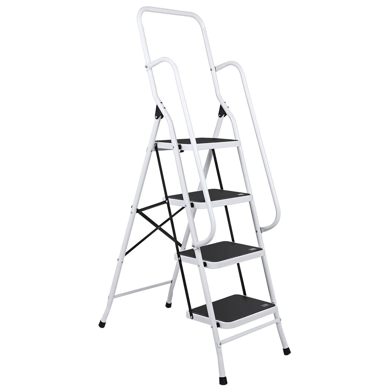 Opuko Folding 4-Step Ladder Aluminum Alloy Lightweight with Handrails