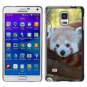 TopCaseStore / la caja del caucho duro de la cubierta de protección de la piel - Little Red Panda Bear Face Tree Tail Animal - Samsung Galaxy Note 4 SM-N910