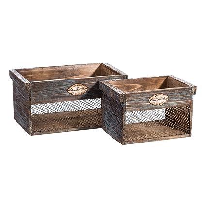 Cajas de Fruta de Madera Natural Azules rústicas para Cocina Bretaña - LOLAhome