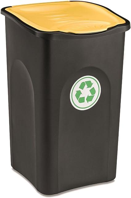 50L Mülleimer Klappdeckel Abfalleimer gelb Papierkorb Müllbehälter Müllsammler