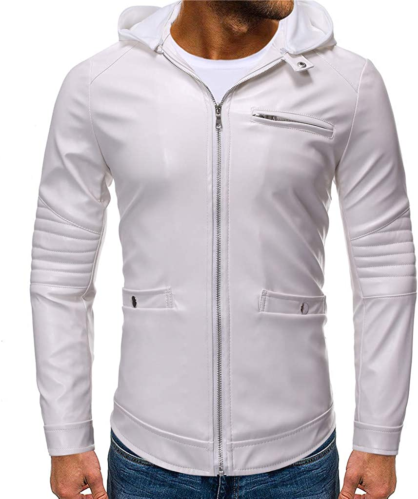 Slim-Fit Jackets Zipper Leather Solid Color Long-Sleeved Coat Fxbar Winter Mens Coat
