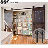 WINSOON Wood Double Sliding Barn Door Hardware Basic Black Big Spoke Wheel Roller Kit Garage Closet Carbon Steel Flat Track System (12FT)