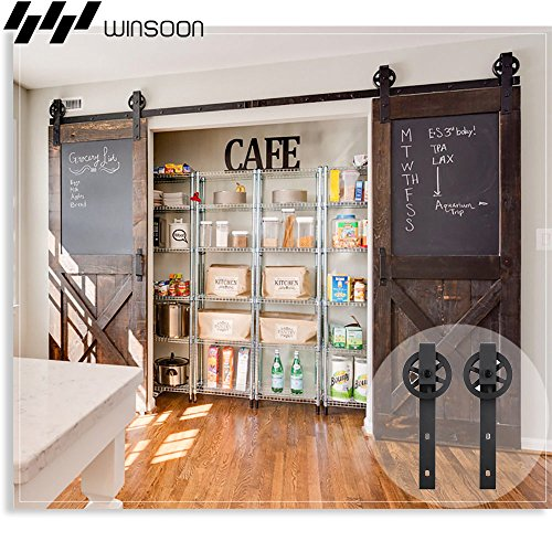 WINSOON Wood Double Sliding Barn Door Hardware Basic Black Big Spoke Wheel Roller Kit Garage Closet Carbon Steel Flat Track System (12FT) by WINSOON