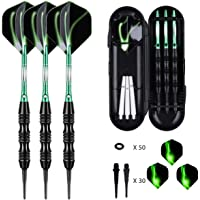 sanfeng Soft Tip Darts Set 18/20 Grams W/ 50 O-Rings - Green/Purple/Red Aluminum Shafts + 6 Standard Flights + 3 Frosted White Shafts + 30 Soft Tips + Portable Case for Electronic Dart Board