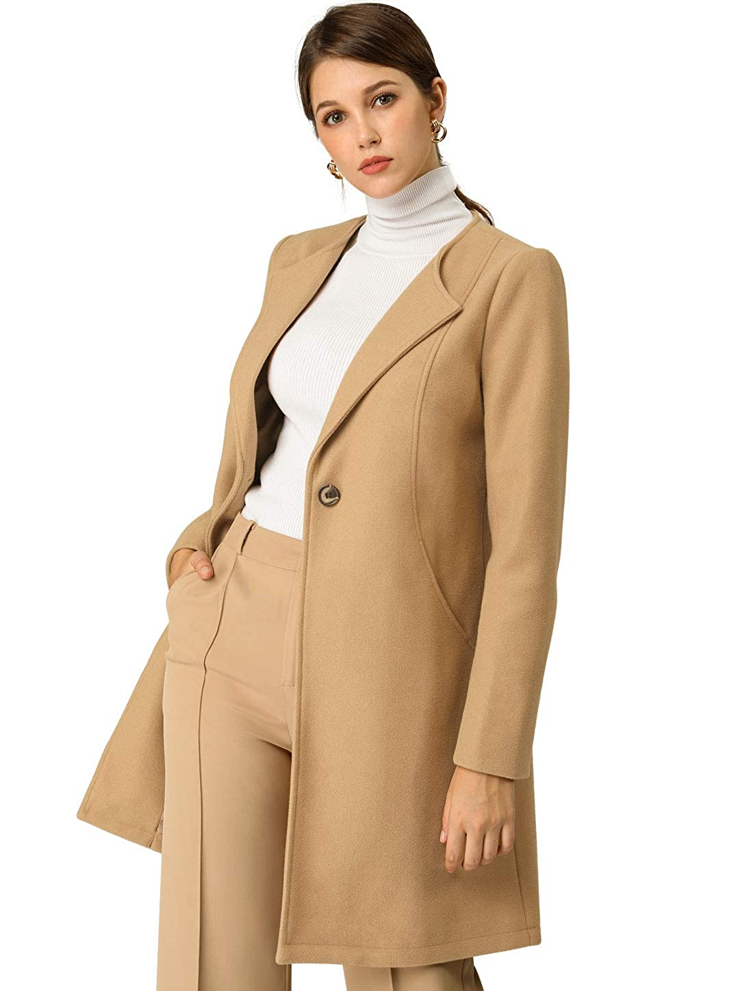 Allegra K Women's Mid-Length Collarless Minimalist Business Coat