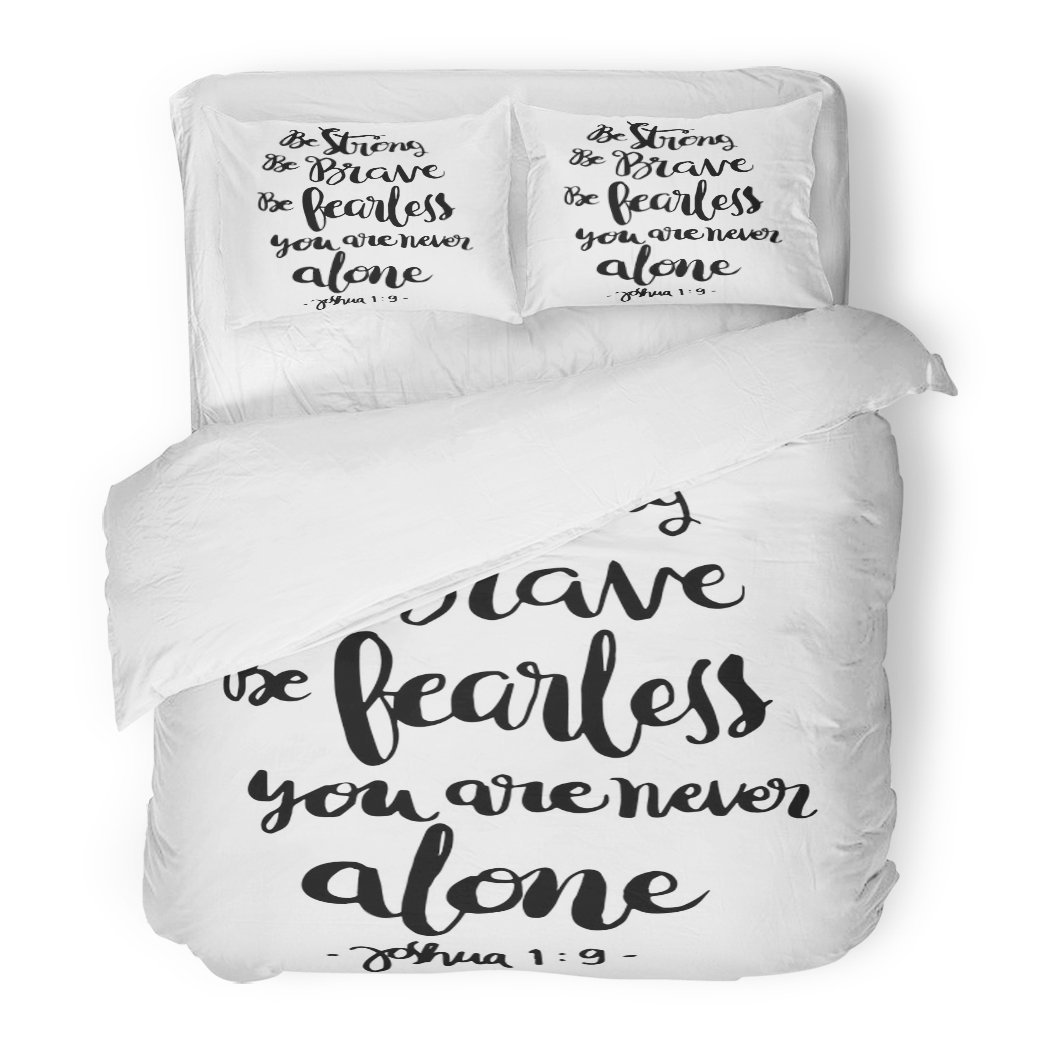 SanChic Duvet Cover Set Be Strong Brave Fearless You Are Never Alone Bible Verse Hand Lettered Quote Modern Calligraphy Christian Decorative Bedding Set with 2 Pillow Shams Full/Queen Size