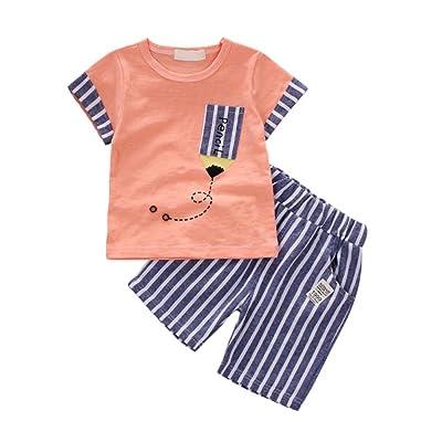 43e22222933b LUXSEA Newborn Baby Boys Cartoon Short Sleeve T-Shirts Stripe Shorts Summer  Clothes Set