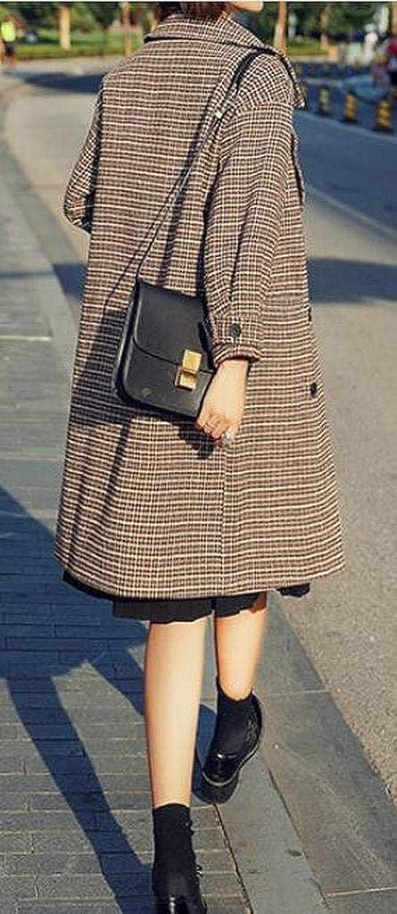 FSSE Womens Wool Wlend Winter Warm Check Loose Trench Pea Coat Jacket Overcoat
