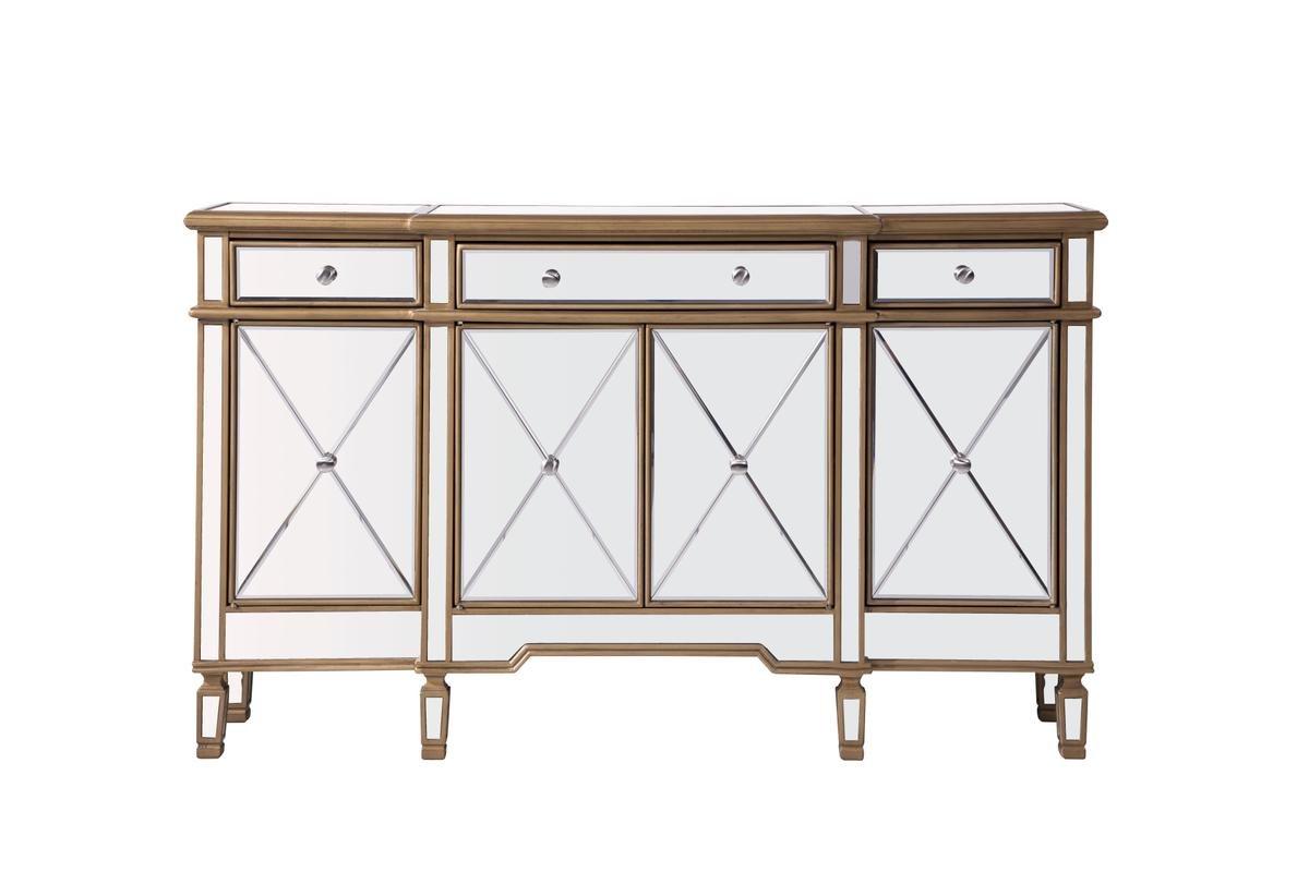 Elegant Decor 3 Drawer 4 Door Cabinet, Gold/Clear by Elegant Decor