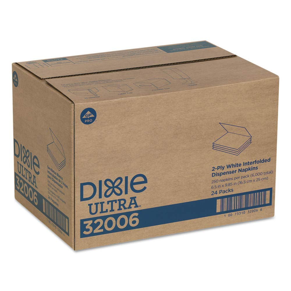 Dixie Ultra 32006 Interfold Napkin Refills Two-Ply, 6 1/2'' X 9 7/8'', White, 6000/carton