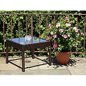 Amazon Com Patio Resin Outdoor Wicker Side End Square