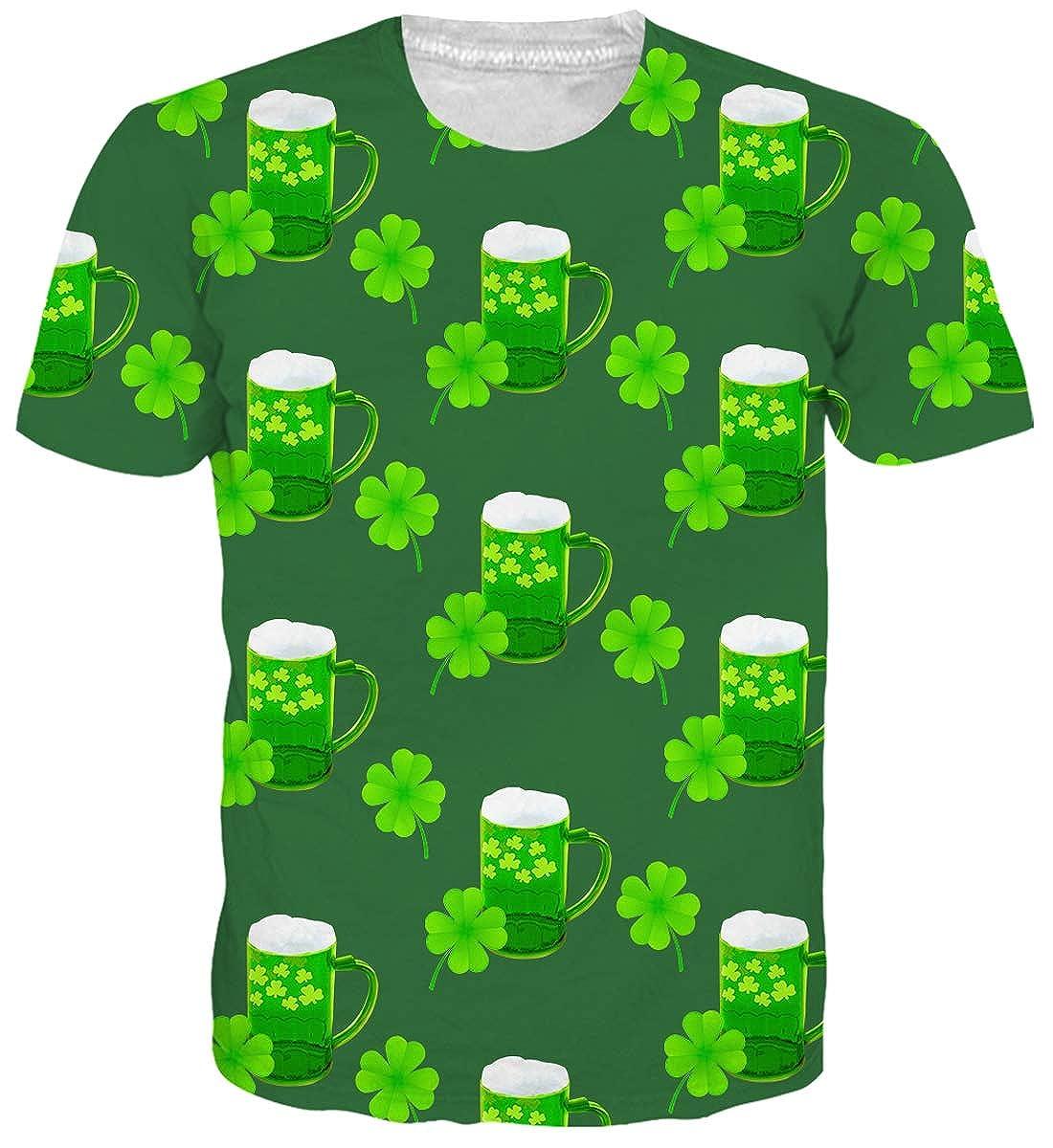 ebf55732c1eb6 Uideazone Men's ST. Patricks Day Shamrock Clover Printed Button Down Shirt  Green Hawaiian Shirt Gift Shirts