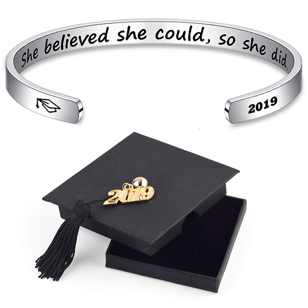 IEFSHINY 2019 Graduation Gift Cuff Bracelet - She Believe She Could So She Did Inspirational Stainless Steel Cuff Bangle with Sayings Graduation Gift for Her