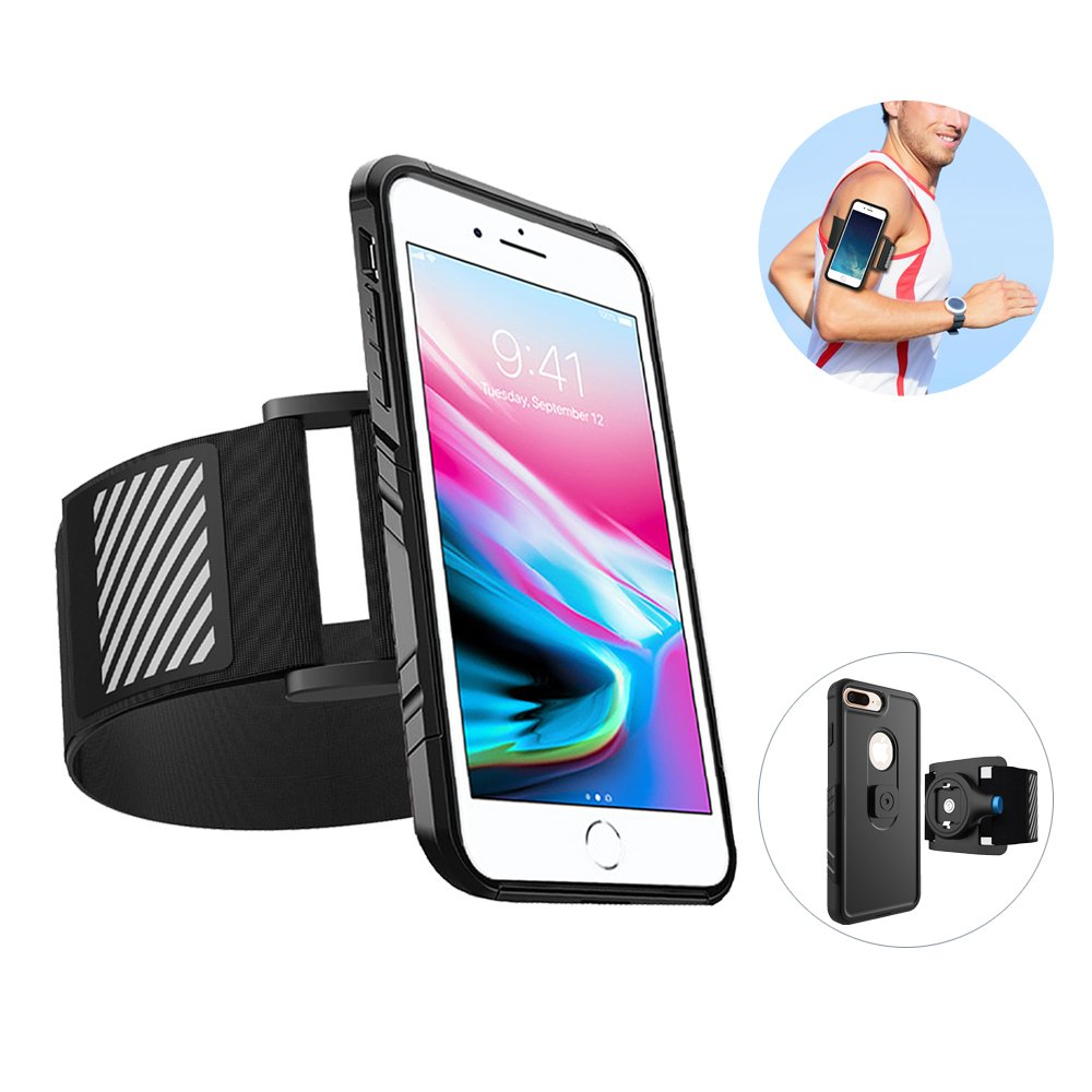 For iPhone 8 Plus Armband - Easy Mount Gym Armband with Rugged Case, Rotatable Running Armband iPhone Holder Case Fitness Excercise Sports Workout Armband for iPhone 8 Plus / 7 Plus