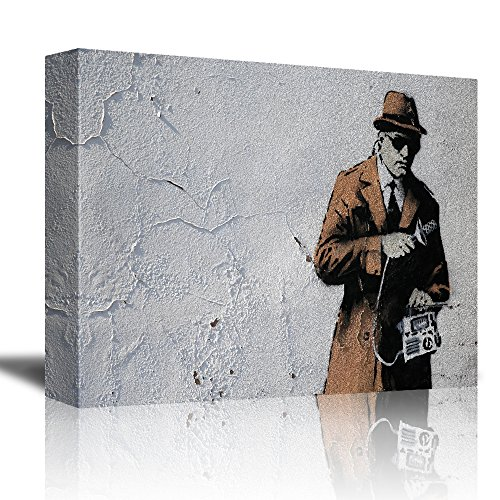 Spybooth by Banksy A Man Spying While Holding a Recording Device